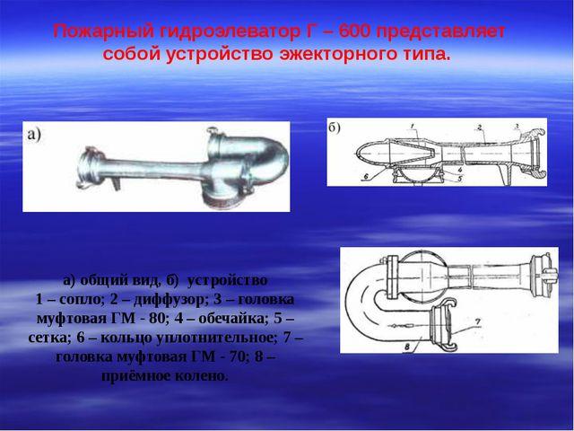 Пожарный гидроэлеватор Г – 600 представляет собой устройство эжекторного типа...