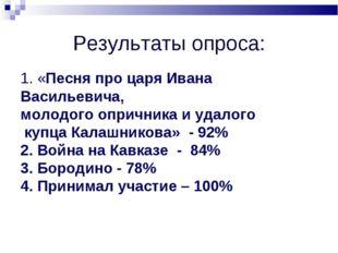 Результаты опроса: 1. «Песня про царя Ивана Васильевича, молодого опричника и