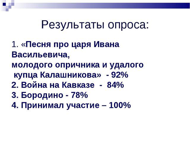 Результаты опроса: 1. «Песня про царя Ивана Васильевича, молодого опричника и...