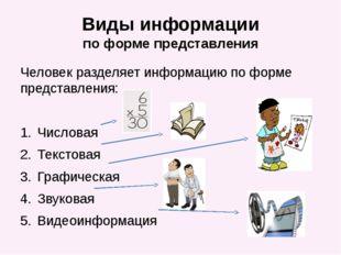 Виды информации по форме представления Человек разделяет информацию по форме