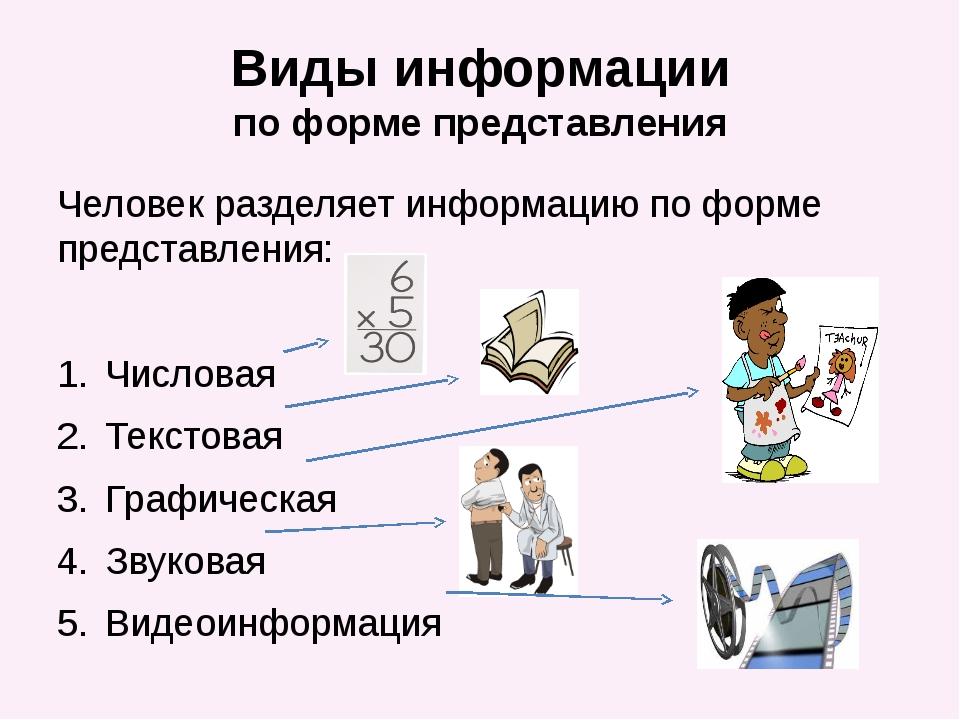 Виды информации по форме представления Человек разделяет информацию по форме...