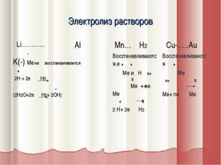 Электролиз растворов Li………… Al Mn… H2 Cu-…..Au + K(-) Me не восстанавливае