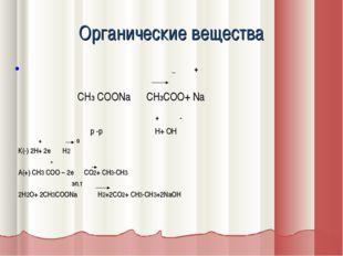 Органические вещества _ + СН3 СООNa CH3COO+ Na + - р -р Н+ ОН + 0 К(-) 2Н+ 2е