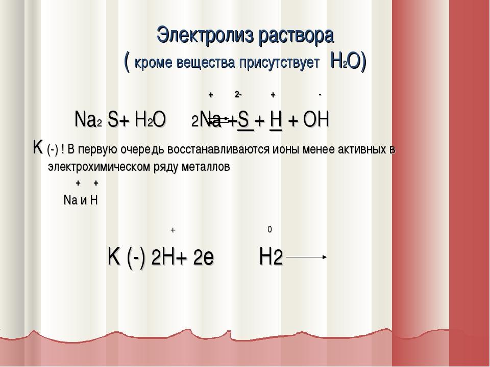 Электролиз раствора ( кроме вещества присутствует H2O) + 2- + - Na2 S+ H2O 2N...