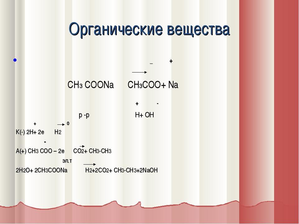 Органические вещества _ + СН3 СООNa CH3COO+ Na + - р -р Н+ ОН + 0 К(-) 2Н+ 2е...
