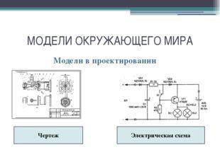МОДЕЛИ ОКРУЖАЮЩЕГО МИРА Модели в проектировании Чертеж Электрическая схема