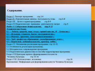 Содержание. Раздел I. Паспорт программы . стр.2-6 Раздел II. Пояснительная