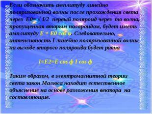 Если обозначить амплитуду линейно поляризованной волны после прохождения свет