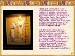 Пергамент получали из тонко выделанных шкур быков, он был удобнее, а главное