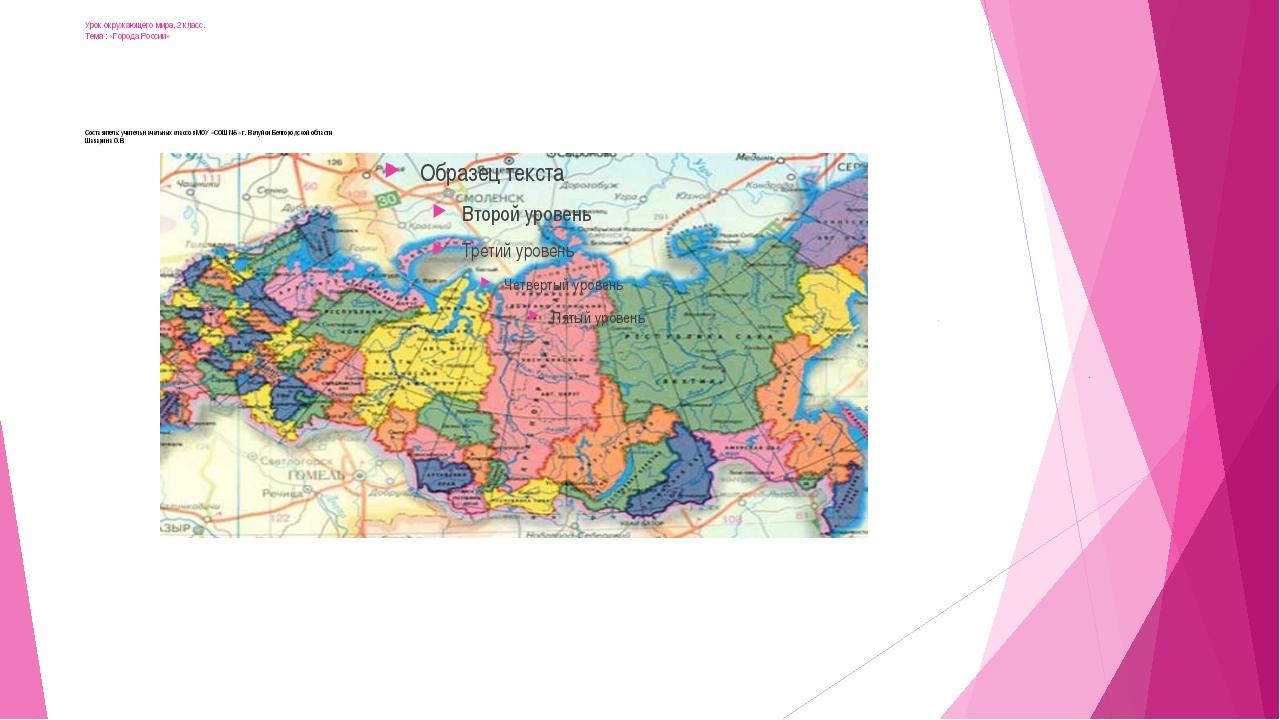Урок окружающего мира, 2 класс. Тема : «Города России» Составитель: учитель н...