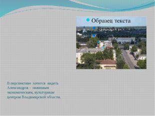 В перспективе хочется видеть Александров – значимым экономическим, культурны