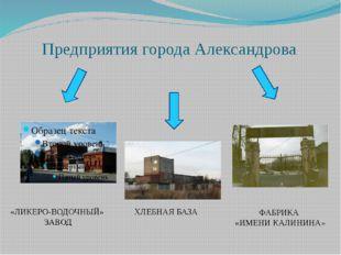 Предприятия города Александрова «ЛИКЕРО-ВОДОЧНЫЙ» ЗАВОД ХЛЕБНАЯ БАЗА ФАБРИКА