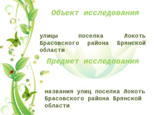 Объект исследования улицы поселка Локоть Брасовского района Брянской области