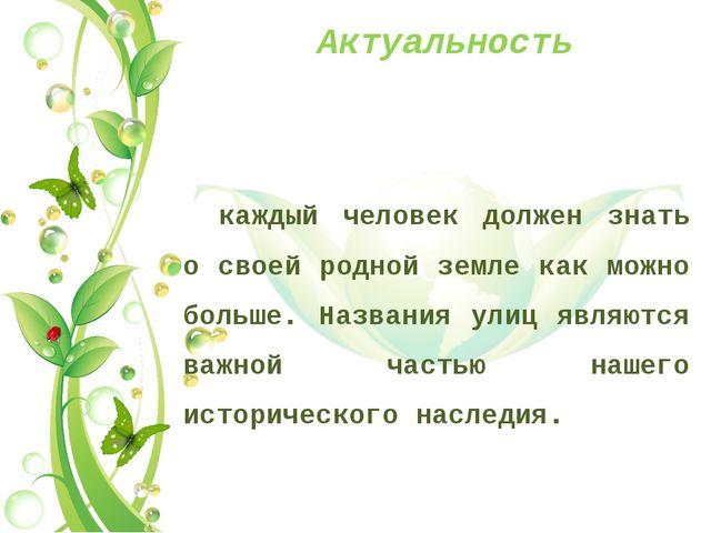 Актуальность каждый человек должен знать о своей родной земле как можно больш...