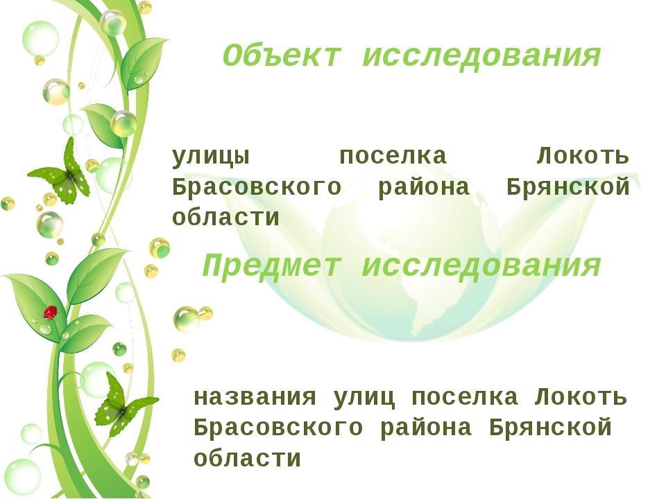 Объект исследования улицы поселка Локоть Брасовского района Брянской области...