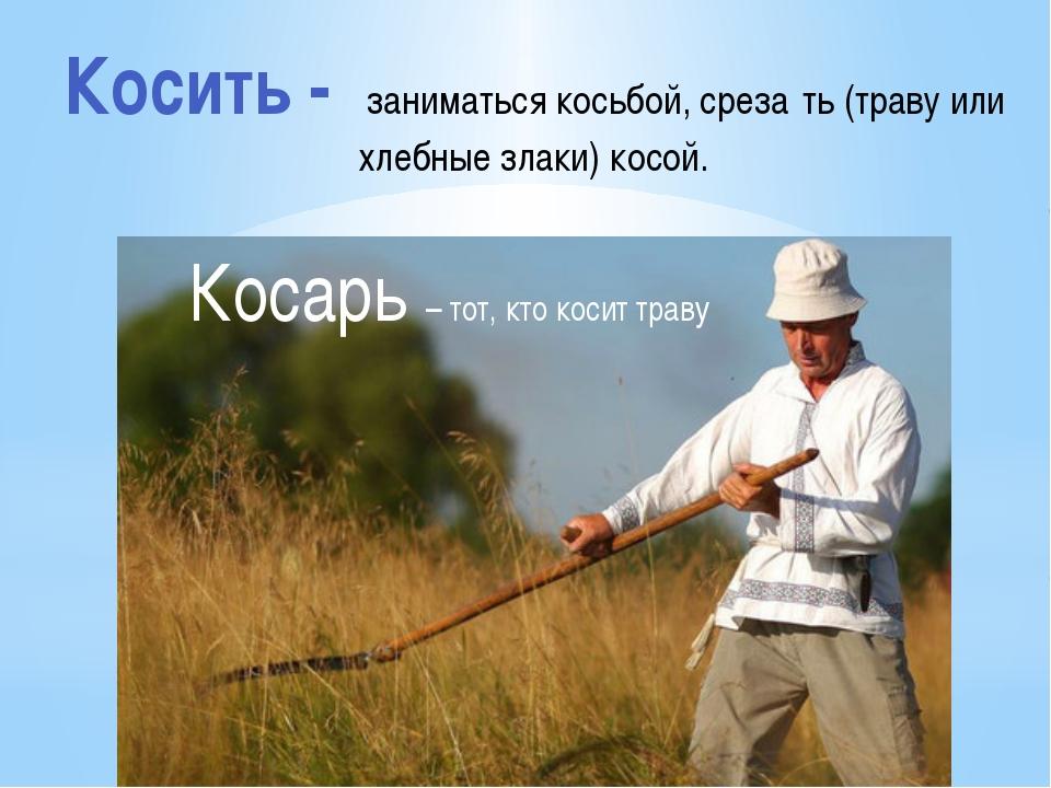 Косить - заниматься косьбой, среза́ть (траву или хлебные злаки) косой. Косарь...
