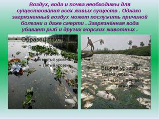 Воздух, вода и почва необходимы для существования всех живых существ . Однако