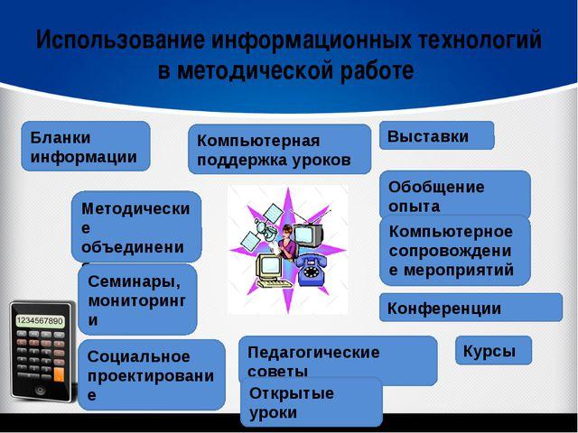 Использование информационных технологий в методической работе Бланки информац...