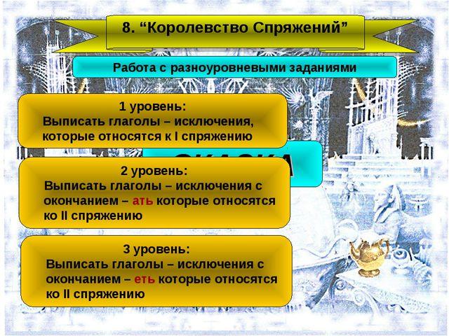 """8. """"Королевство Спряжений"""" СКАЗКА Работа с разноуровневыми заданиями 1 уровен..."""