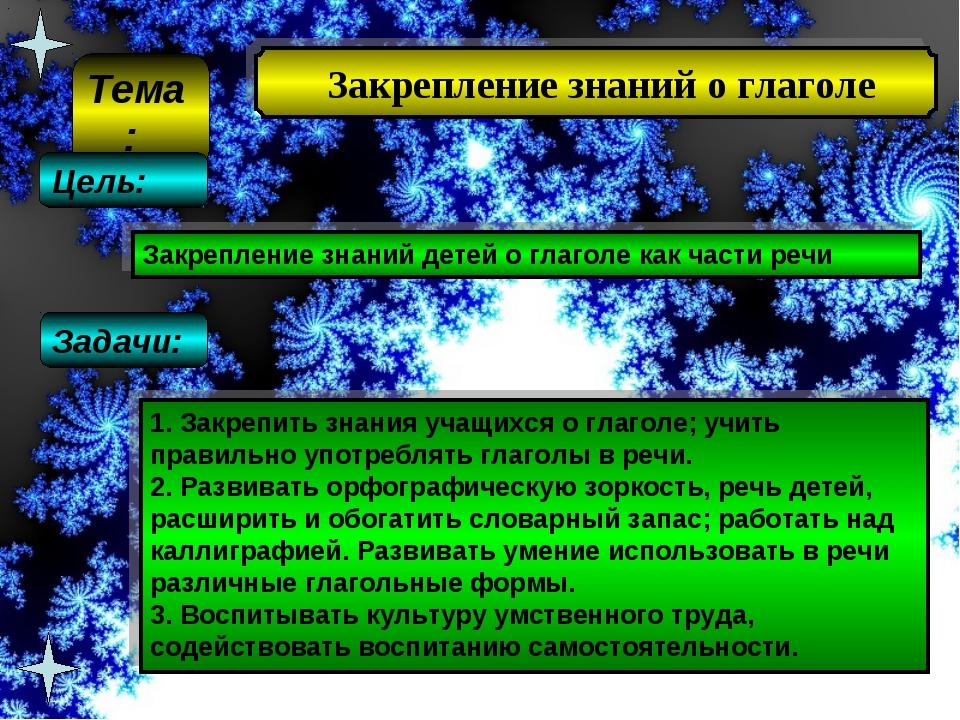 Закрепление знаний о глаголе Закрепление знаний детей о глаголе как части ре...