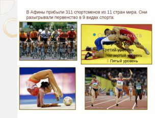 В Афины прибыли 311 спортсменов из 11 стран мира. Они разыгрывали первенство