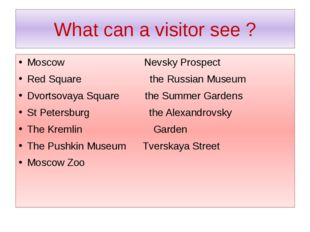 What can a visitor see ? Moscow Nevsky Prospect Red Square the Russian Museum