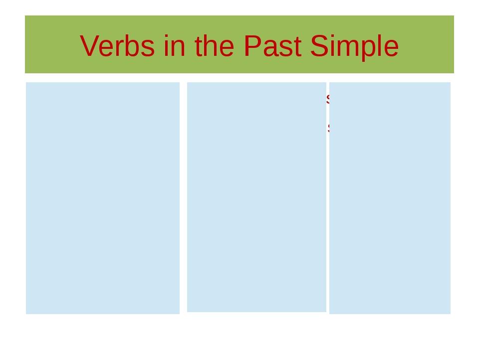 Verbs in the Past Simple Begin- read- sing- Do- run- speak- Drink- see- sit-...