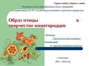 Образ птицы в творчестве нижегородцев Конкурс «Экологическая мозаика» Номинац