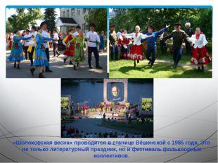 «Шолоховская весна» проводится в станице Вёшенской с 1985 года. Это не только