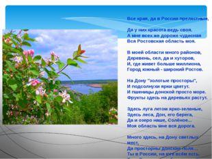 Все края, да в России прелестные, Да у них красота ведь своя. А мне всех же д