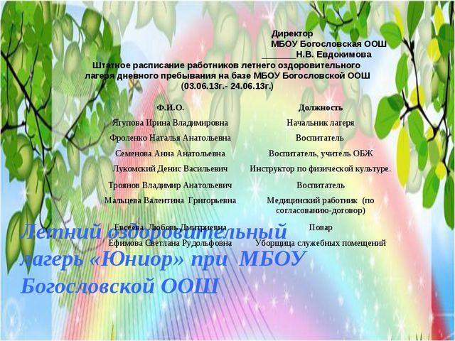 Летний оздоровительный лагерь «Юниор» при МБОУ Богословской ООШ Директор МБОУ...