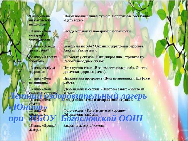 Летний оздоровительный лагерь «Юниор» при МБОУ Богословской ООШ 9 день «День...