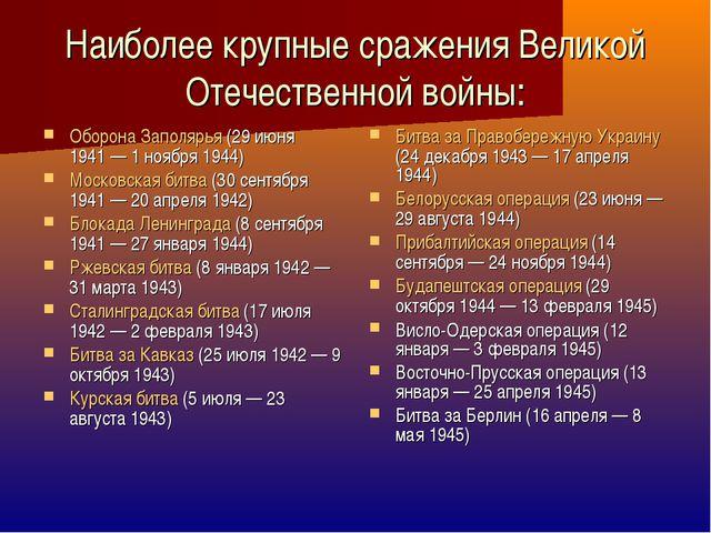 Наиболее крупные сражения Великой Отечественной войны: Оборона Заполярья (29...