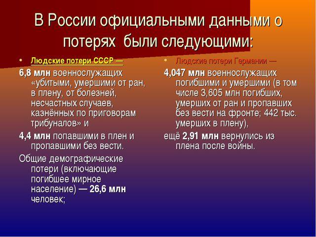 В России официальными данными о потерях были следующими: Людские потери СССР...