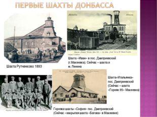 Шахта Рутченково 1893 Шахта «Иван» в пос. Дмитриевский (г.Макеевка). Сейчас –