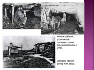 Землянка, где жил шахтер и его семья. Коногон -рабочий, управляющий лошадьми,