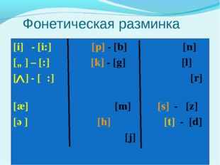 Фонетическая разминка [i] - [i:] [p] - [b] [n] [ɒ] – [כ:] [k] - [g] [l] [ ]
