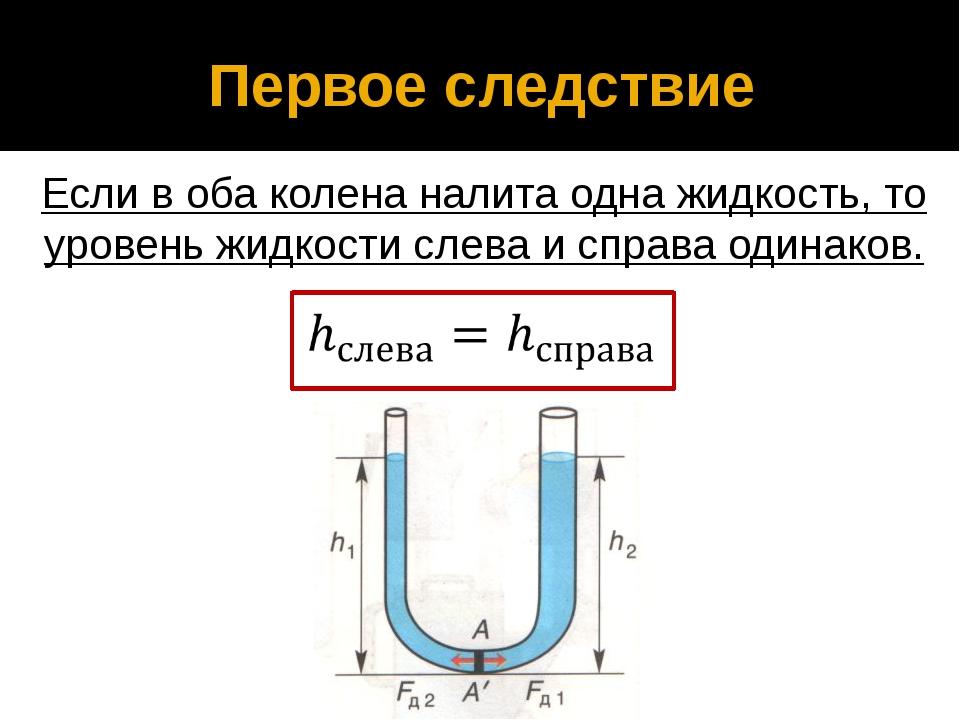 Первое следствие Если в оба колена налита одна жидкость, то уровень жидкости...