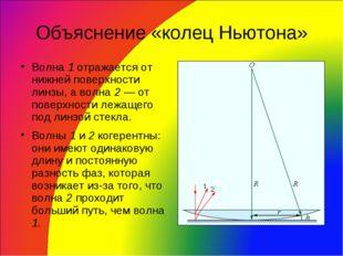 Объяснение «колец Ньютона» Волна 1 отражается от нижней поверхности линзы, а