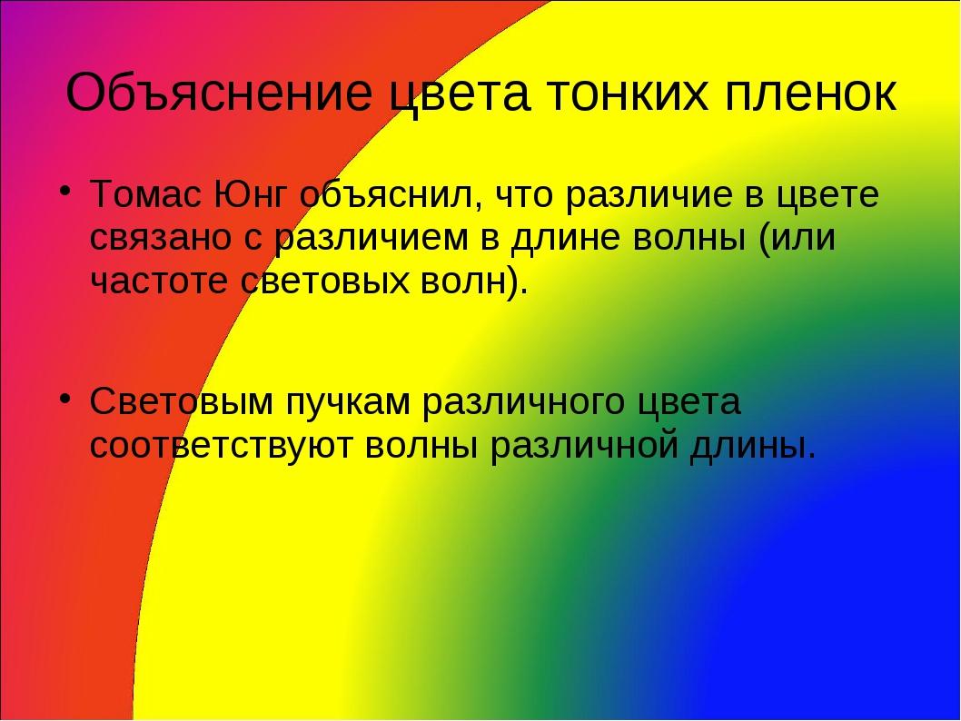Объяснение цвета тонких пленок Томас Юнг объяснил, что различие в цвете связа...