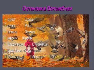 Остановка Волшебная орёл Орёл роза Роза земля Земля шарик Шарик близнецыБ
