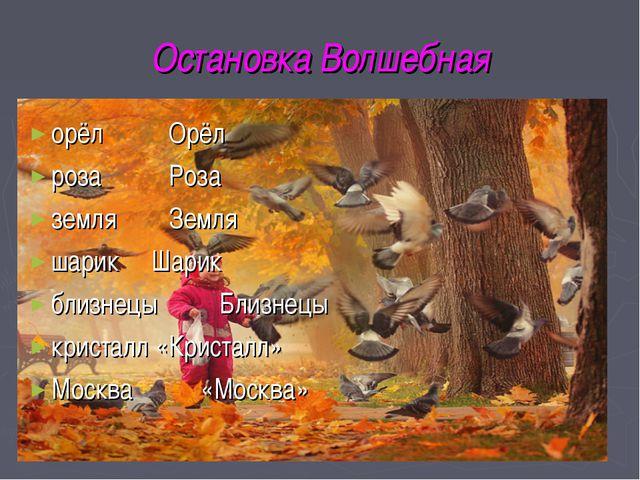 Остановка Волшебная орёл Орёл роза Роза земля Земля шарик Шарик близнецыБ...