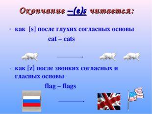 Окончание –(e)s читается: как [s] после глухих согласных основы cat – cats ка