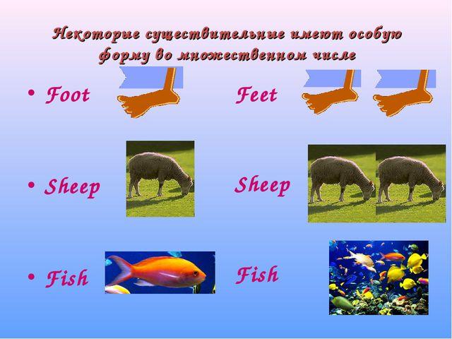 Некоторые существительные имеют особую форму во множественном числе Foot Shee...
