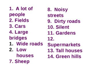 1. A lot of people 2. Fields 3. Cars 4. Large bridges Wide roads Low houses 7