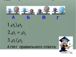 Сравните плотности шаров. 1 1 1 1 2 2 2 2 А Б В Г 4.Нет правильного ответа №3