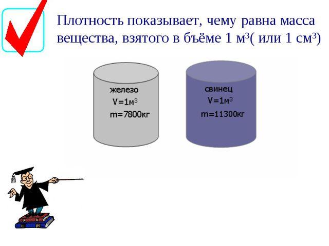 Плотность показывает, чему равна масса вещества, взятого в бъёме 1 м3( или 1...