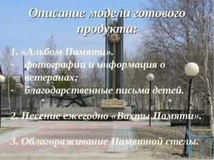 Описание модели готового продукта: 1. «Альбом Памяти». фотографии и информаци