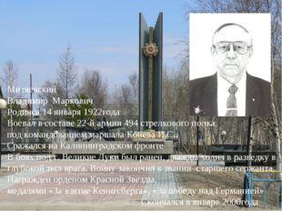 Митяевский Владимир Маркович Родился 14 января 1922года Воевал в составе 22-