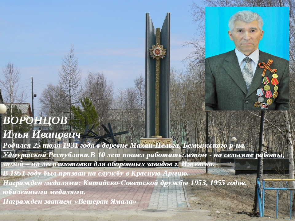 ВОРОНЦОВ Илья Иванович Родился 25 июля 1931 года в деревне Махан-Пельга, Бем...